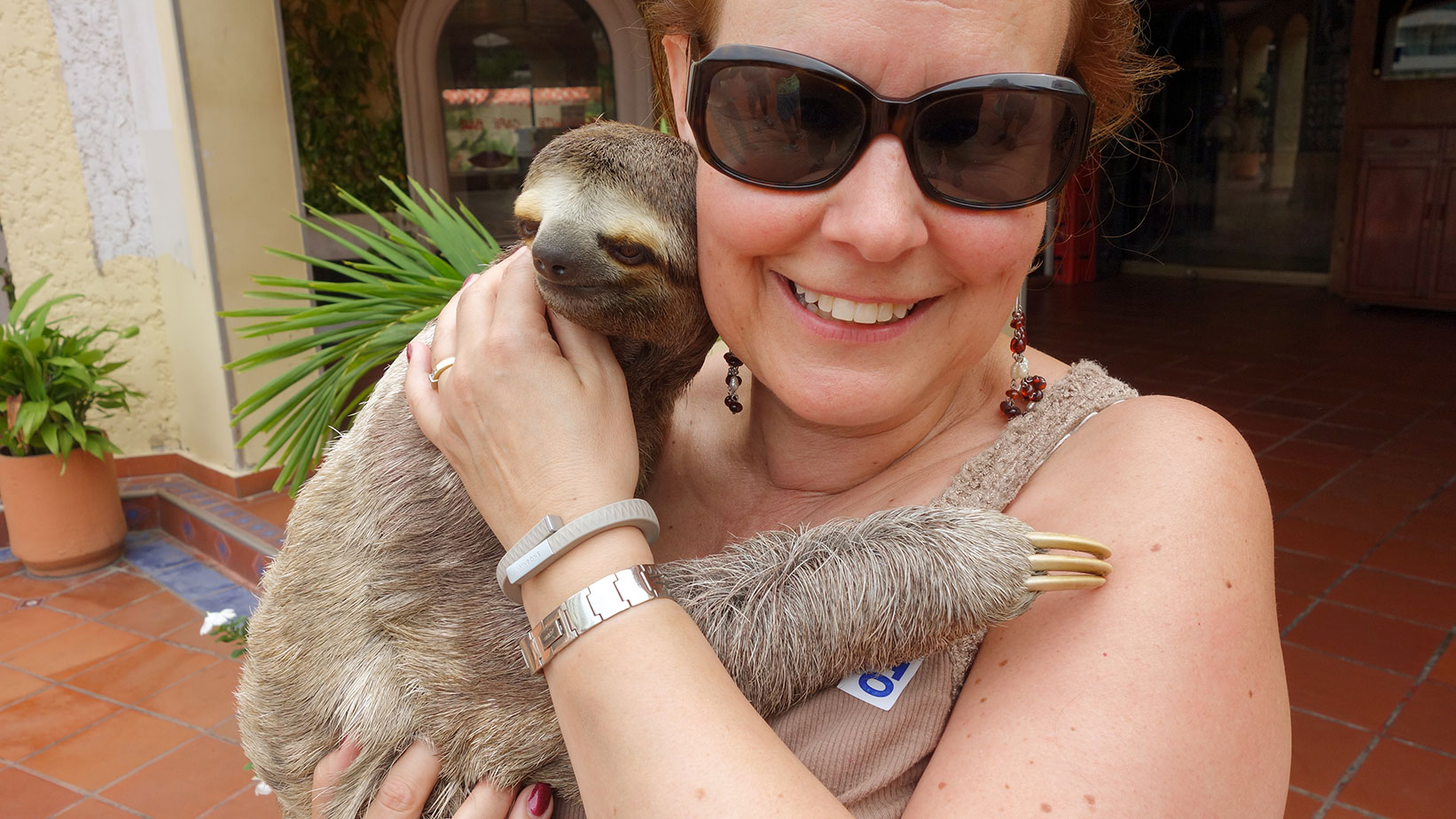 Two bucks for a photo op with the sloth? Chris couldn't have been happier.