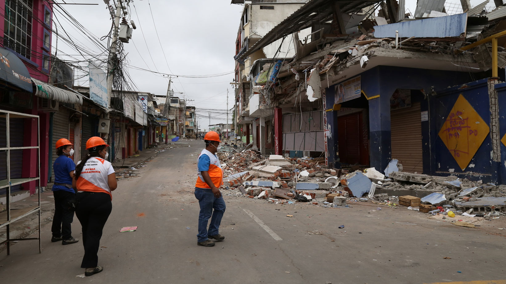 After the 2016 Ecuador earthquake, World Vision staff assess damage in a business district of Manta, a major port city. (©2016 World Vision/photo by Diego Rivadeneira)